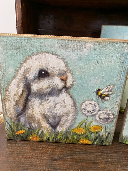 Bunny Block Sign Shelf Sitter