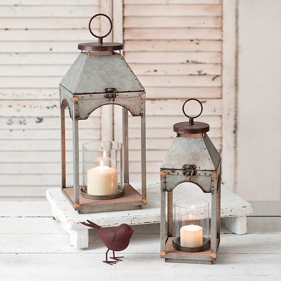 Set of Two Galvanized Candle Lanterns with Wood Base