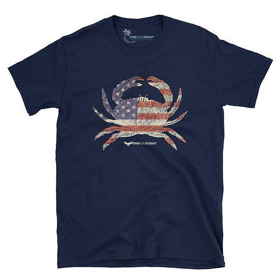 Men's Find Your Coast American Crab Navy and Black Cotton Tee Shirt