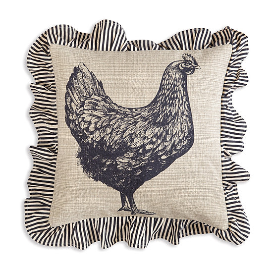 Chicken Cotton Throw Pillow with Ruffles