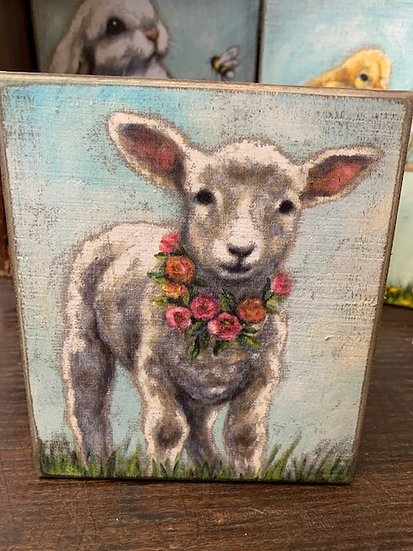 Lamb w/ wreath Box Shelf Sitter