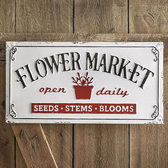 Flower Market Metal Sign