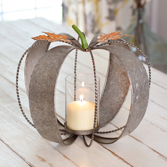 Metal Pumpkin Candle Holder