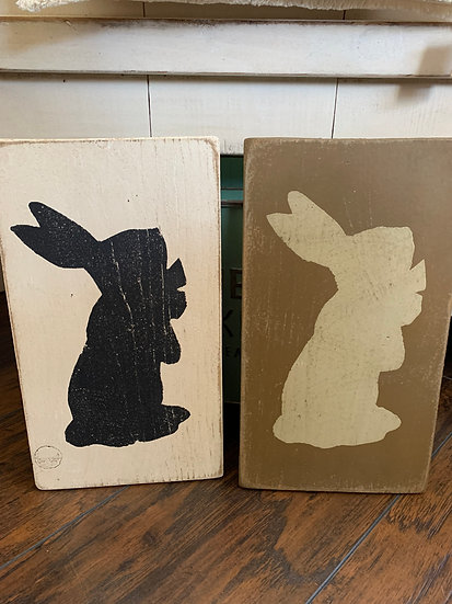 Wood Rabbit Wall or Shelf Decor