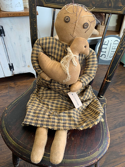 Grungy Primitive Doll with Bird