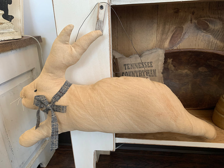 Large Primitive Stuffed Hanging Bunny