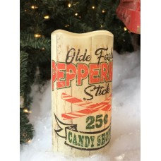 Old Fashioned Peppermint Sticks LED Pillar Candle with Timer 6""