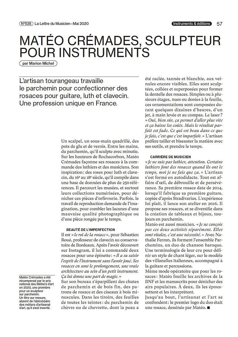20200517 - La Lettre du Musiciein LM535_