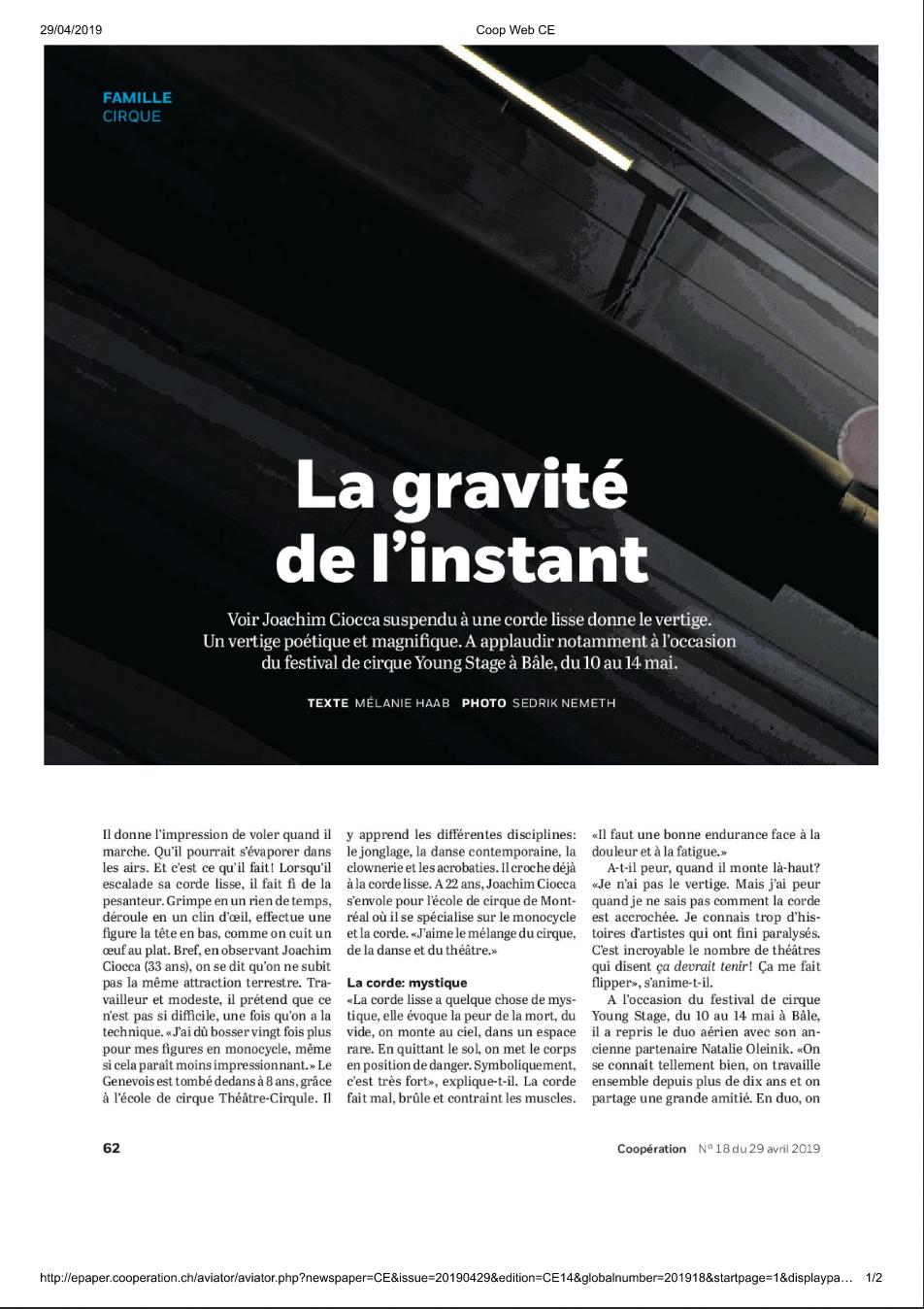 """Journal Coop, Coopération """"Le journal le plus lu en Suisse"""" Avril 2019"""