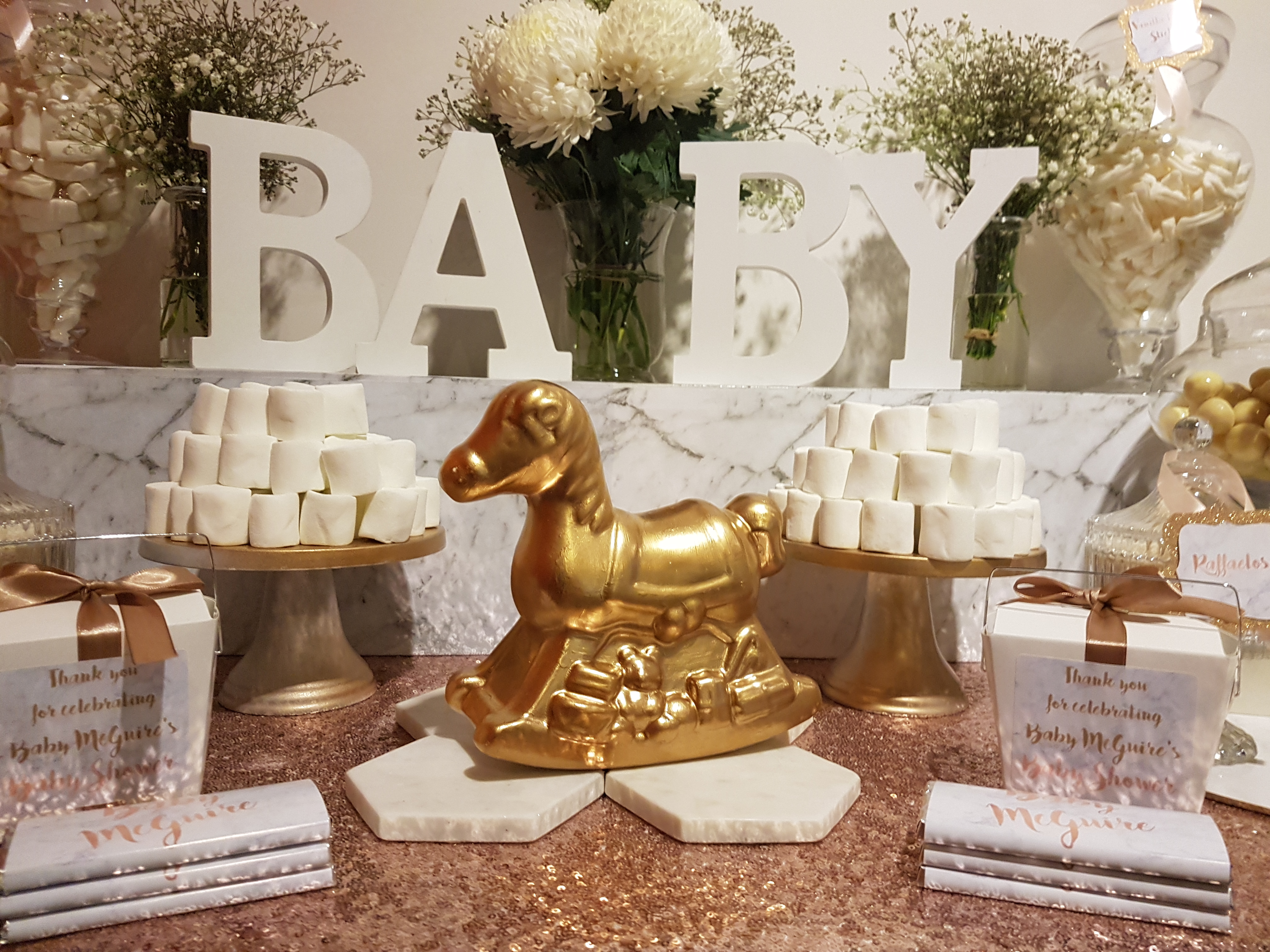 White, gold and marble Baby Shower