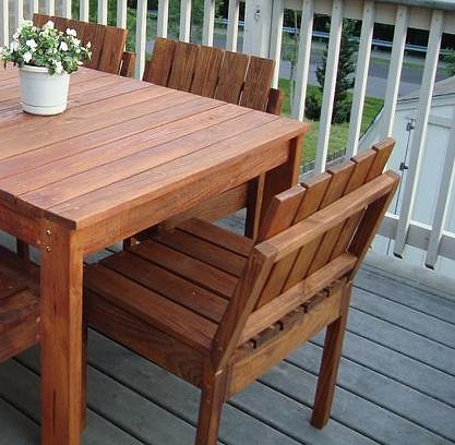Redwood Patio Table With Bench U0026 4 Stackable Chairs