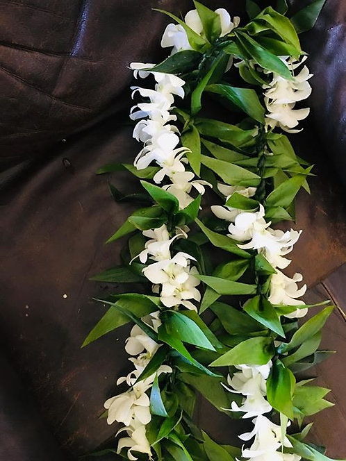 Ti Leaf Maile Style w/White Orchids