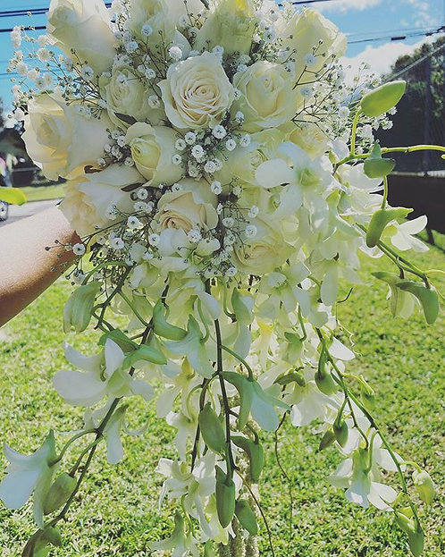 Winter White Cascade Bouquet