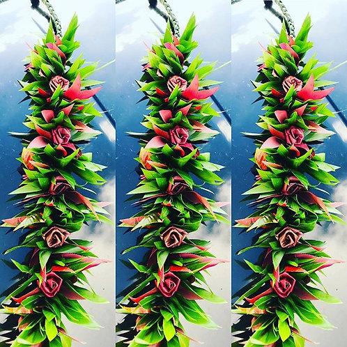 Ti Leaf Haku Lei Po'o w/ Ti Roses