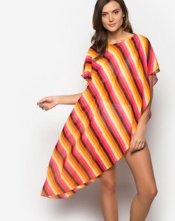 Georgina Colored Striped Beach Cover Up