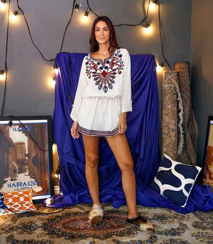 SeektheUniq Amezrou Drawstring Embroidered Tunic