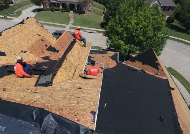 McKinney Roofing Company, Roofing Crew, Hand Nail Roofing
