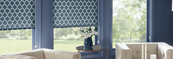 Living room with two large windows featuring blue patterned roller shades.