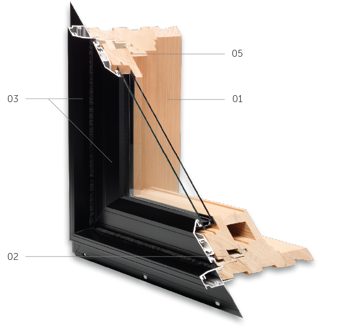 Cross section of a wood frame window with aluminium cladding