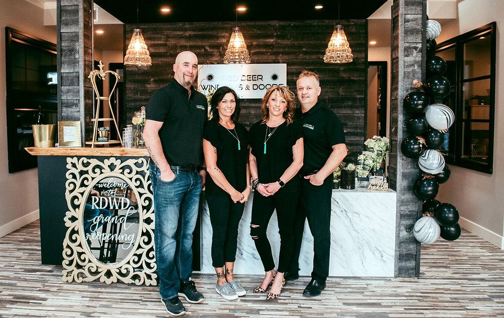 The staff at Red Deer Windows & Doors: Trent Hunter, Teri Hunter, Tracy Burghardt and Derry Burghardt