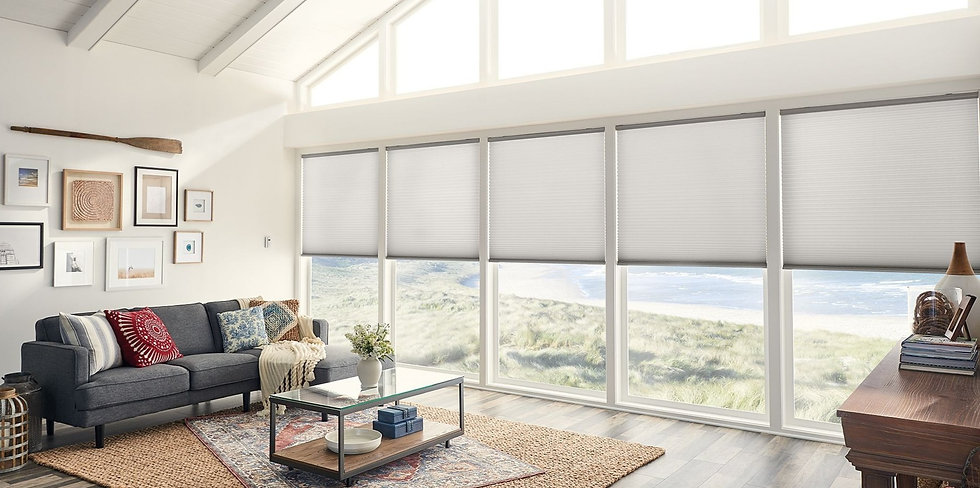 Bright white living room with a vaulted ceiling, four peaked windows, and four large windows featuring white accordion blinds. View of a beach in the distance.