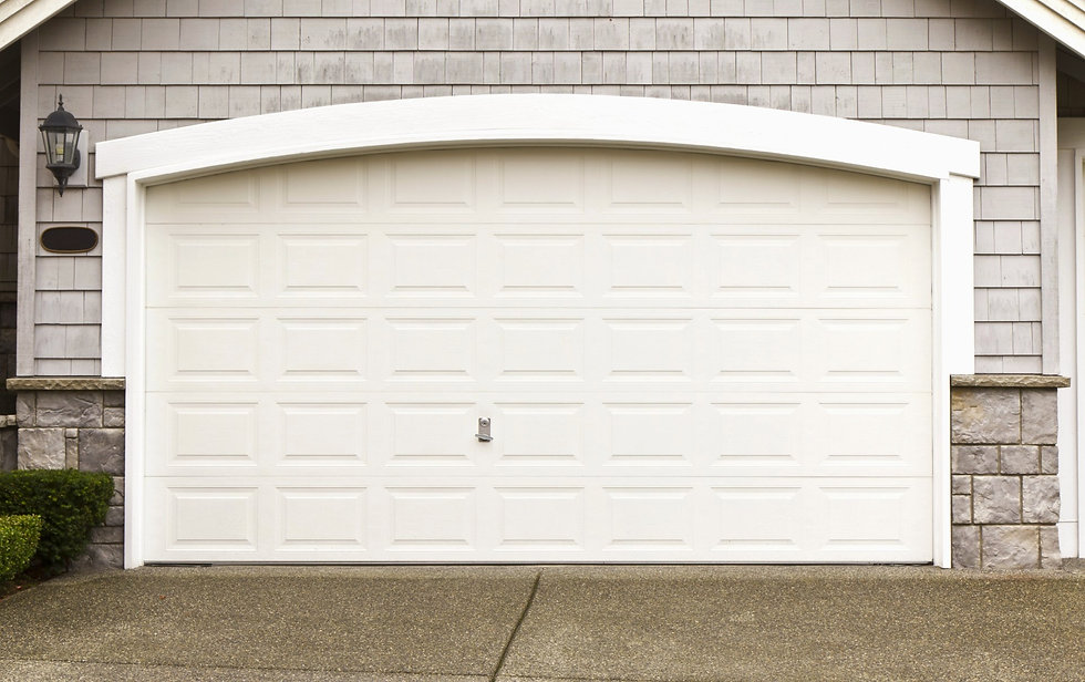 Large cream garage door.