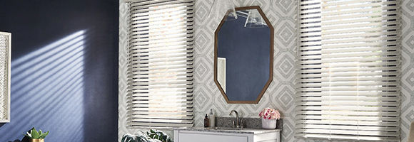 Bathroom with two windows featuring composite and faux wood blinds.