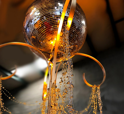 Mirror ball on gold stand - Gatsby (2).j