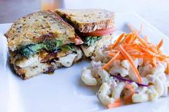 Chicken Caprese Sandwich with Mac Salad