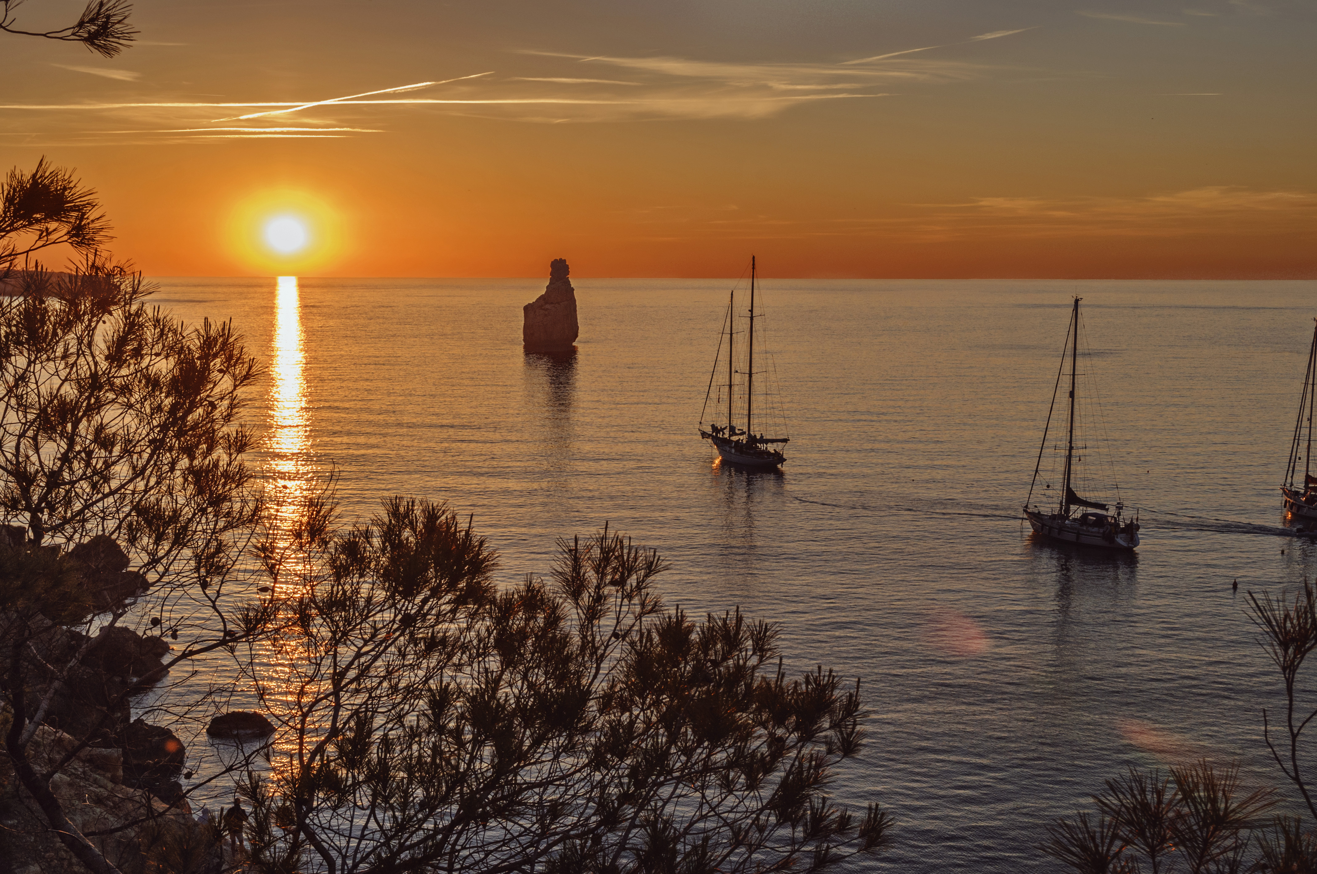 sunset near the beach cala Benirras, Ibiza,Spain