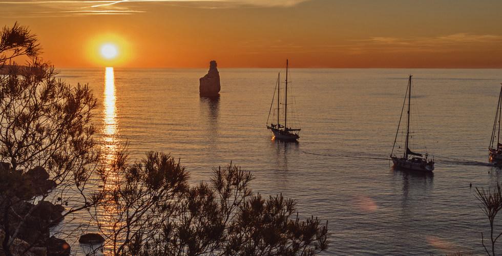 sunset near the beach cala Benirras, Ibi