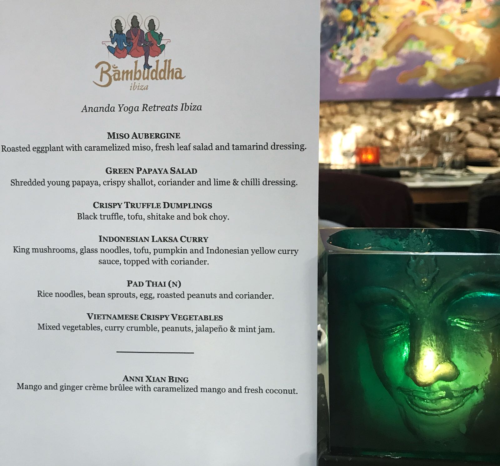 Ananda's very own Bambuddha Menu