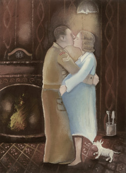 Kissing Couple Sepia