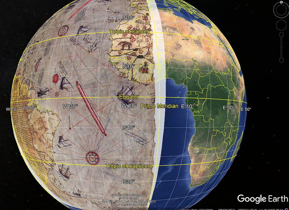 google earth piri reis map overlay
