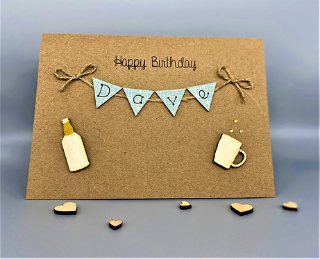 Personalised 5 x 7 inch Birthday Card - Bunting Card - Beer Bottle & Glass