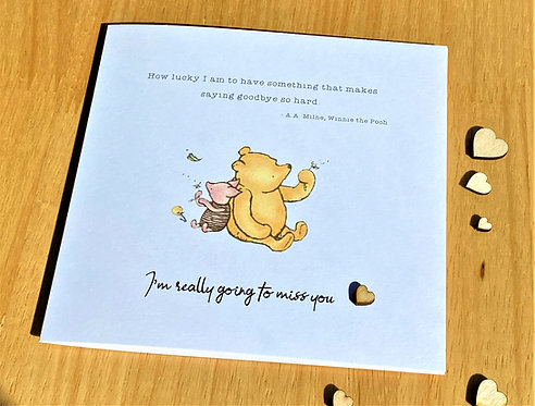 Miss You - Leaving - Going Away - Retirement - Friend - Card - Winnie the Pooh
