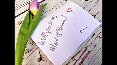 Will you be my Bridesmaid / Maid of Honour / Wedding Day Card / Wedding Party