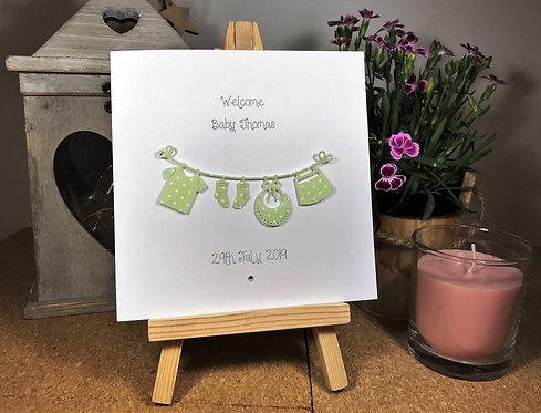 New Baby - Clothes Line - White 6 x 6 inchCard