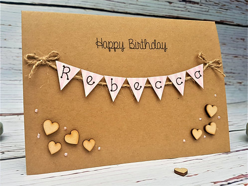 Personalised 5 x 7 inch Birthday Card - Bunting Card - Brown Kraft