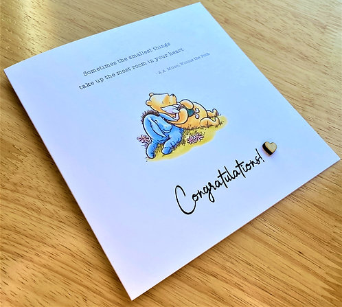 New Baby / Birth of Baby - Winnie the Pooh - 6 x 6 - Card - Congartulations