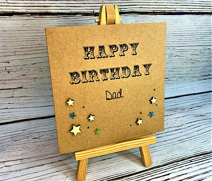 Happy Birthday Dad - Any Name - 6 x 6 Brown - Stars