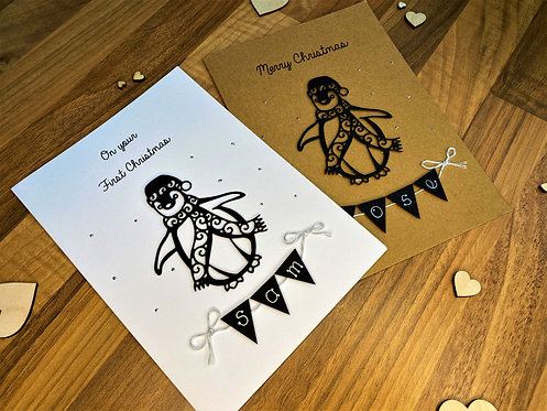 Penguin Christmas / First Christmas Card - Personalised - Brown or White Card