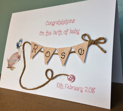 Jemima Puddleduck New Baby Card Personalised