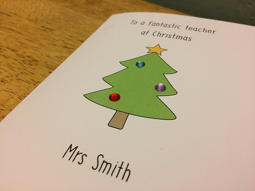 Personalised Teacher Christmas Card - GreenTree on White 5 x 7