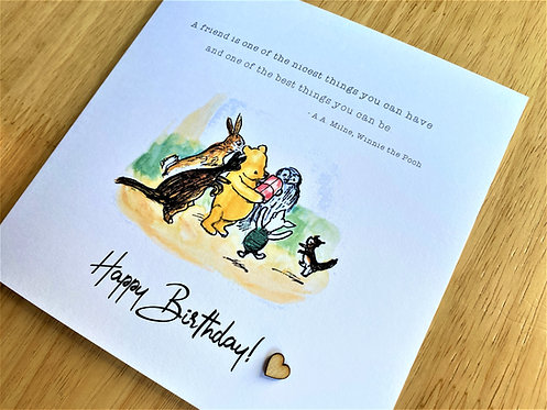 Happy Birthday - Party with Present - 6 x 6 - Friend - Card