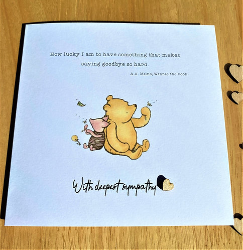 Handmade - Condolence - Sympathy - Sentiment - Bereavement - Winnie the Pooh