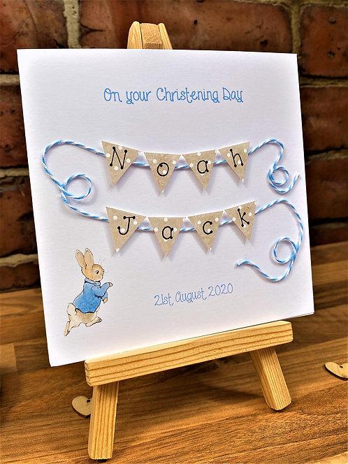 Christening / Baptism / Naming Day - Peter Rabbit - Personalised 5 x7 in
