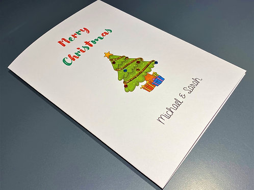 Christmas Card - Tree with baubles on White 5 x 7 - Personalised