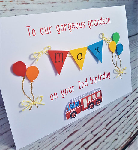 5 x7 inch Personalised Birthday Card - Fire Engine and Balloons Primary Colours