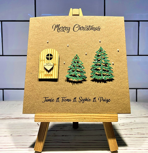 6 x 6 inch Personalised Brown Christmas Card - 2 trees & door